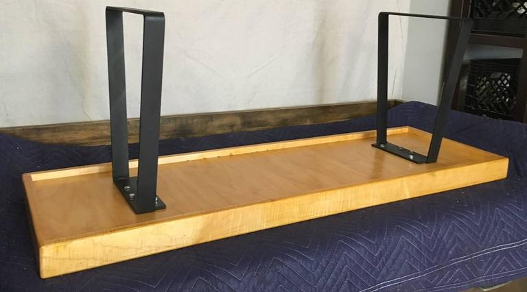 Bench From Gymnasium Gym Flooring With Steel Bracket Legs