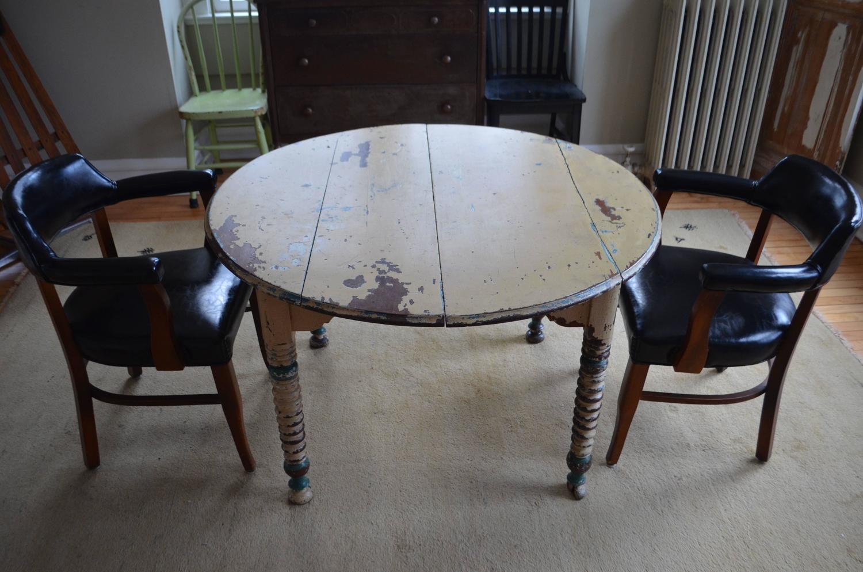 round farm table primitive antique with original paint at