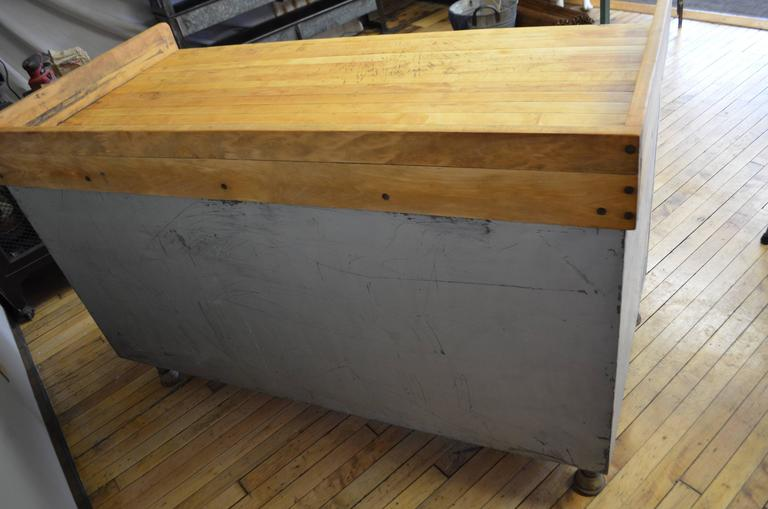 Kitchen Island With Butcher Block Top And Steel Base Circa 1930s At 1stdibs