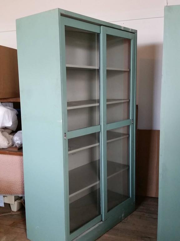 Vintage Industrial Sliding Doors : Steel medical dental lab cabinet sliding doors and