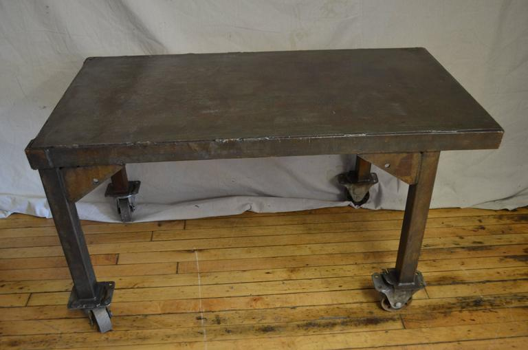 20th Century Steel Rolling Coffee Table Work Table Flat Screen TV Stand,  Vintage Industrial For
