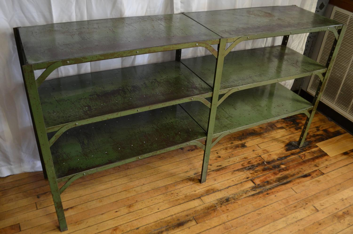 Industrial Steel Shelving Unit In As Found Green Paint For