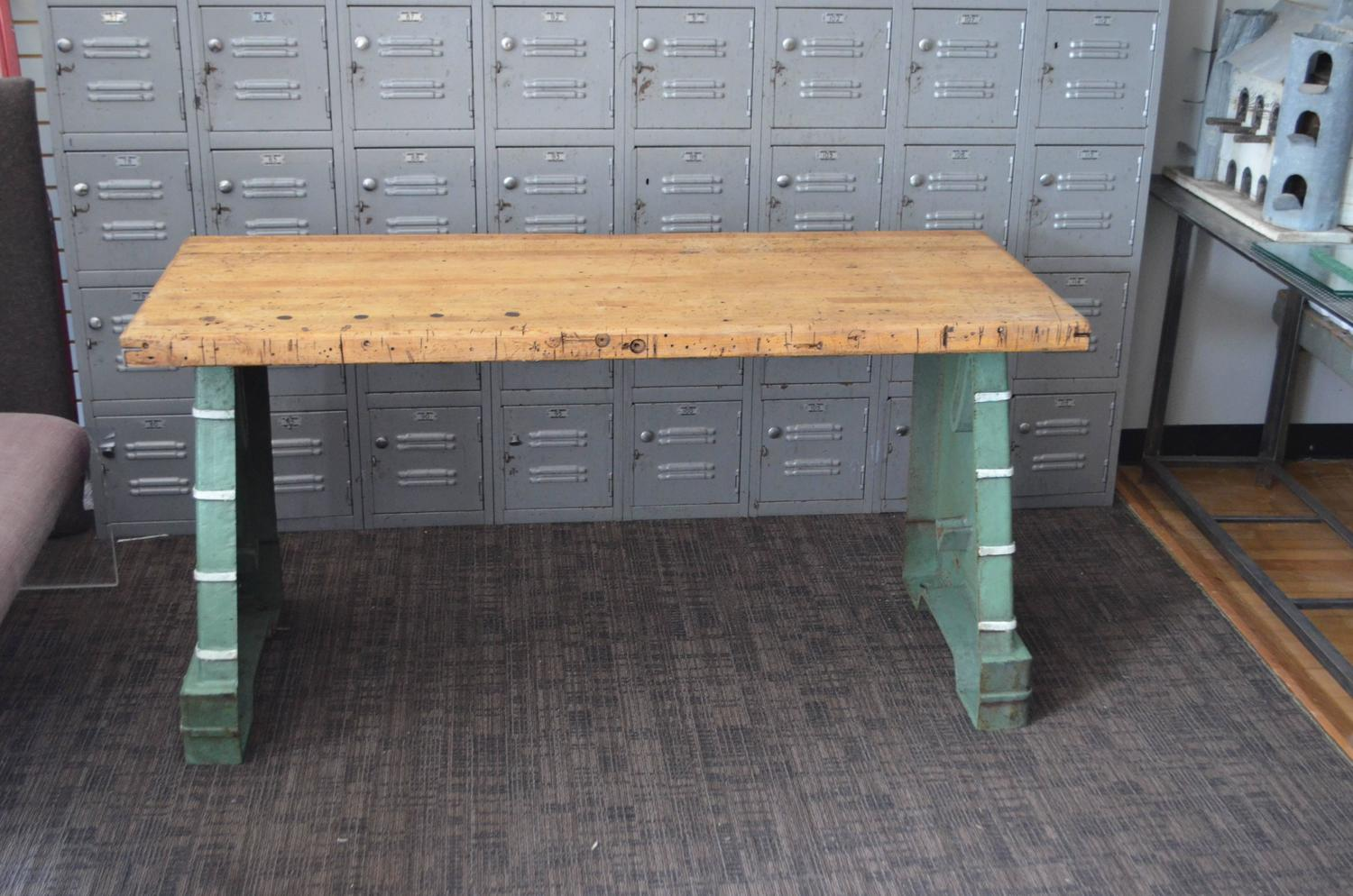 Industrial worktable kitchen island maple top with steel bench press base for sale at 1stdibs - Industrial kitchen island for sale ...
