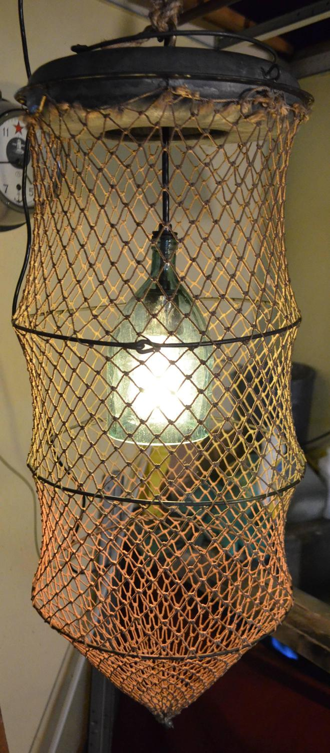 Pendant Light From Seltzer Bottle Mounted Inside Fish Trap For Sale At 1stdibs