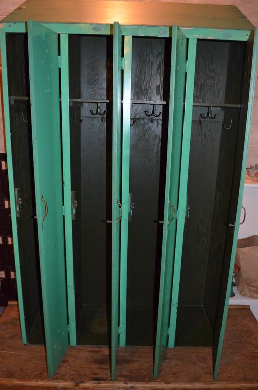 Gym Locker With Handles Four Door Painted Green Wood For