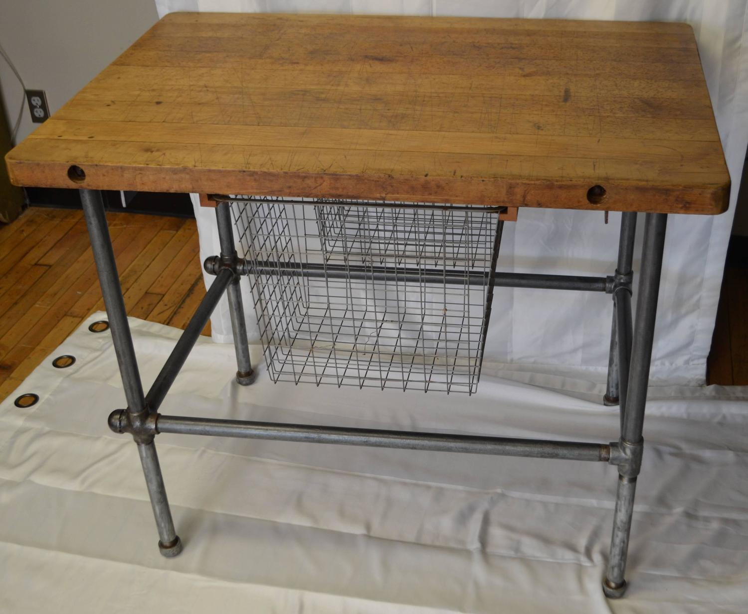 Kitchen island work table with maple top and sliding baskets on steel pipe base for sale at 1stdibs - Industrial kitchen island for sale ...