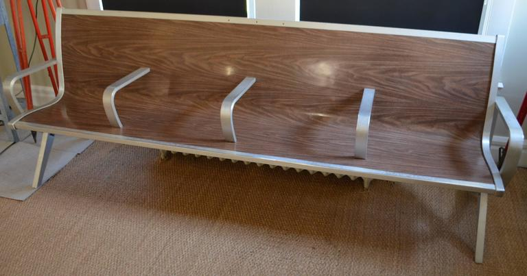 Mid Century Bench From Waiting Room Of Train Bus Depot At
