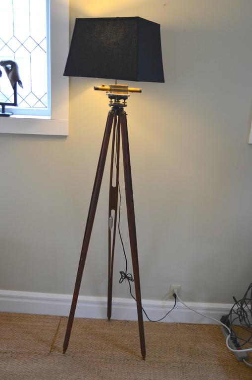 Floor Lamp Fashioned From Surveyor S Tripod With