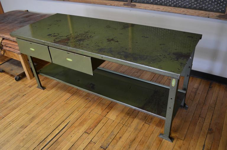 Industrial Work Table Makes Striking Kitchen Island With