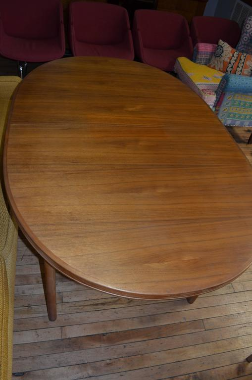 Mid-Century Dining Table of Teak with Two Inserts 1