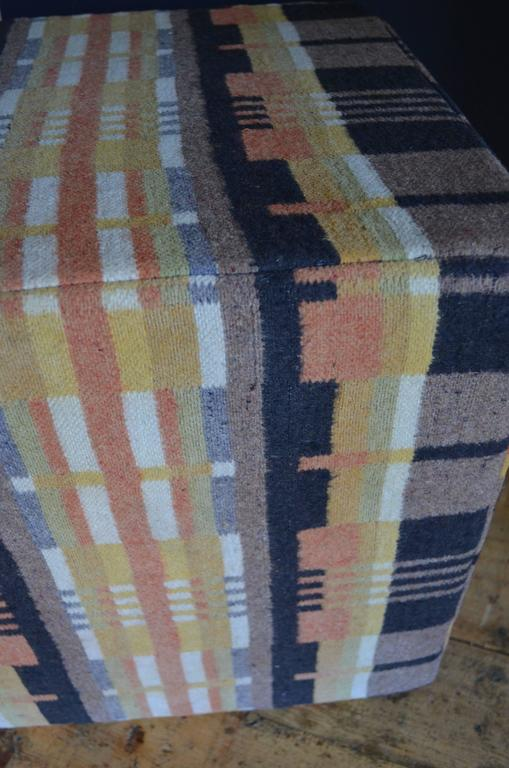 Antique Wool Carriage Horse Blanket As Pouf Ottoman For