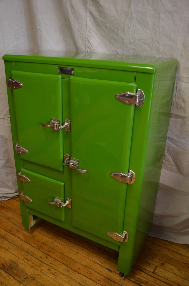Green Ice Box Refrigerator Bar By Windsor Circa 1920s At