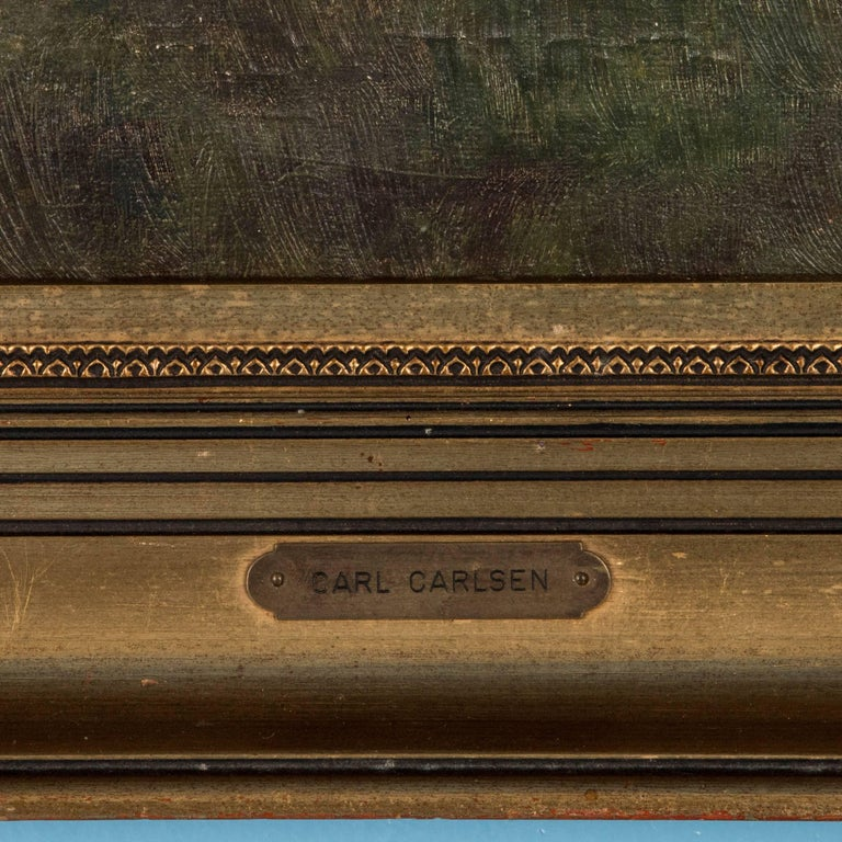Antique 19th Century, Oil on Canvas Painting by Carl Carlsen For Sale 2