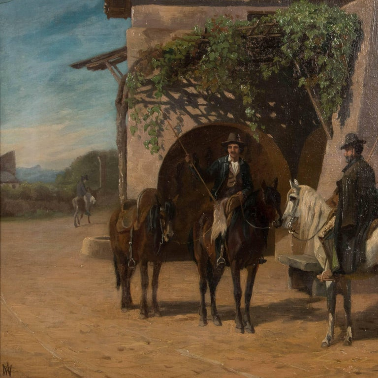 Original oil on canvas painting of three men on horseback talking on a village street, by Danish artist Adolf Henrik Mackeprang (1833-1911).