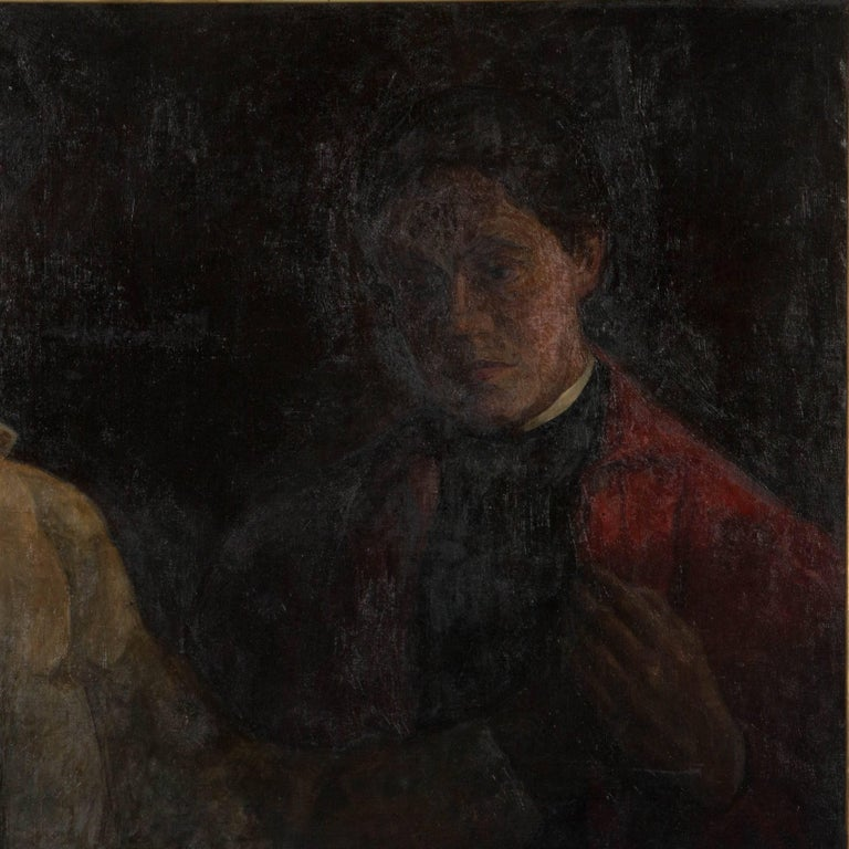 Original oil on canvas portrait of a mother and son by Sigurd Wandel (1875-1943). The painting is mounted in a giltwood and gesso frame and pencilled on the back stretcher, mother and son Sigurd Wandel. Please take a moment to enlarge the photos to