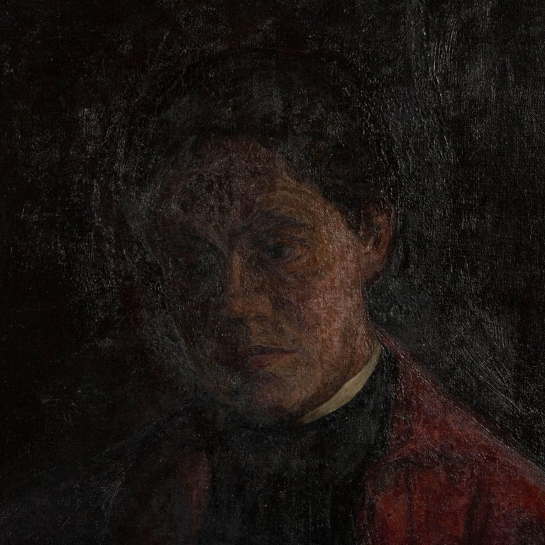 Danish Antique 19th Century Original Oil Painting Portrait by Sigurd Wandel For Sale