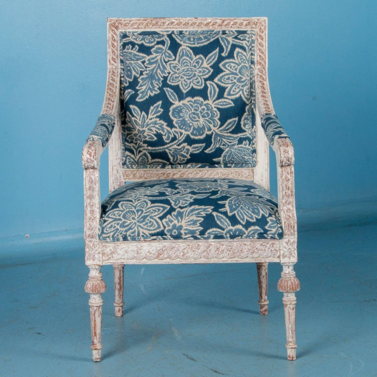 Pair of Antique 19th Century Gustavian Armchairs from Sweden In Good Condition For Sale In Denver, CO