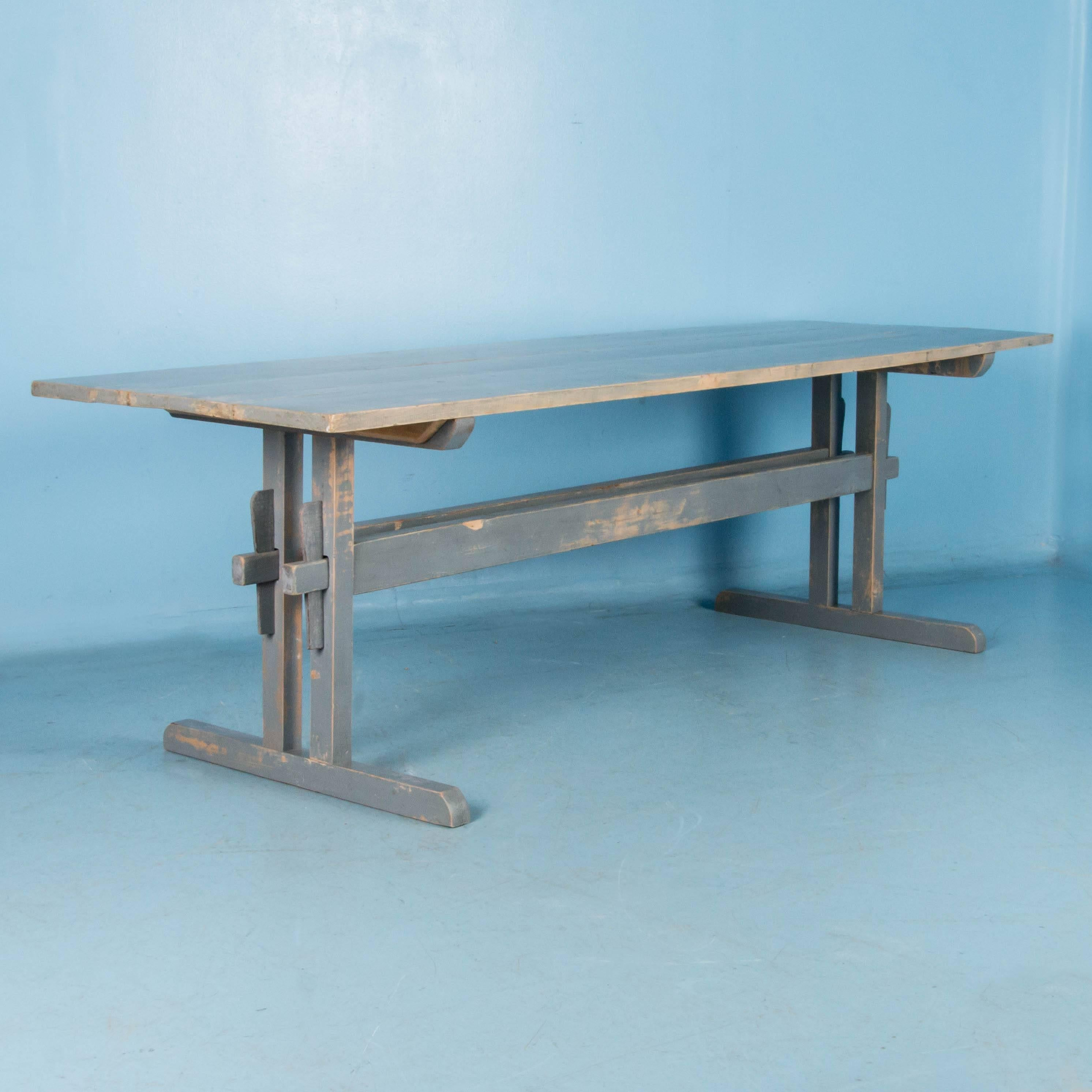 Swedish Long Antique Country Pine Trestle Table With Original Gray Paint  For Sale