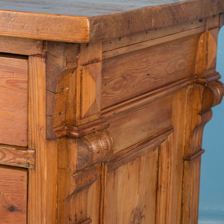 Antique Free Standing Danish Pine Kitchen Island With