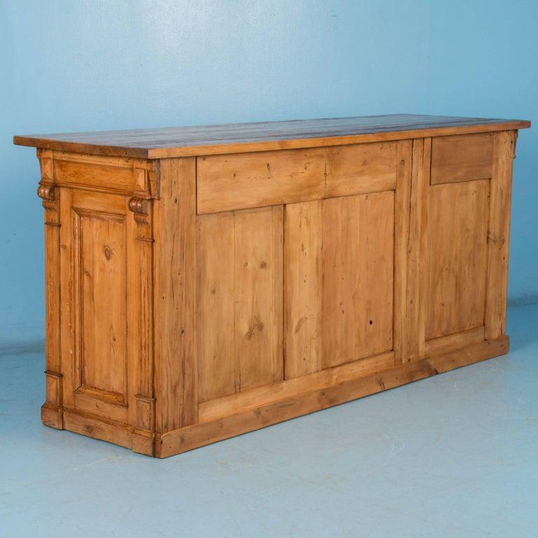 Antique free standing danish pine kitchen island with for Free standing pine kitchen furniture
