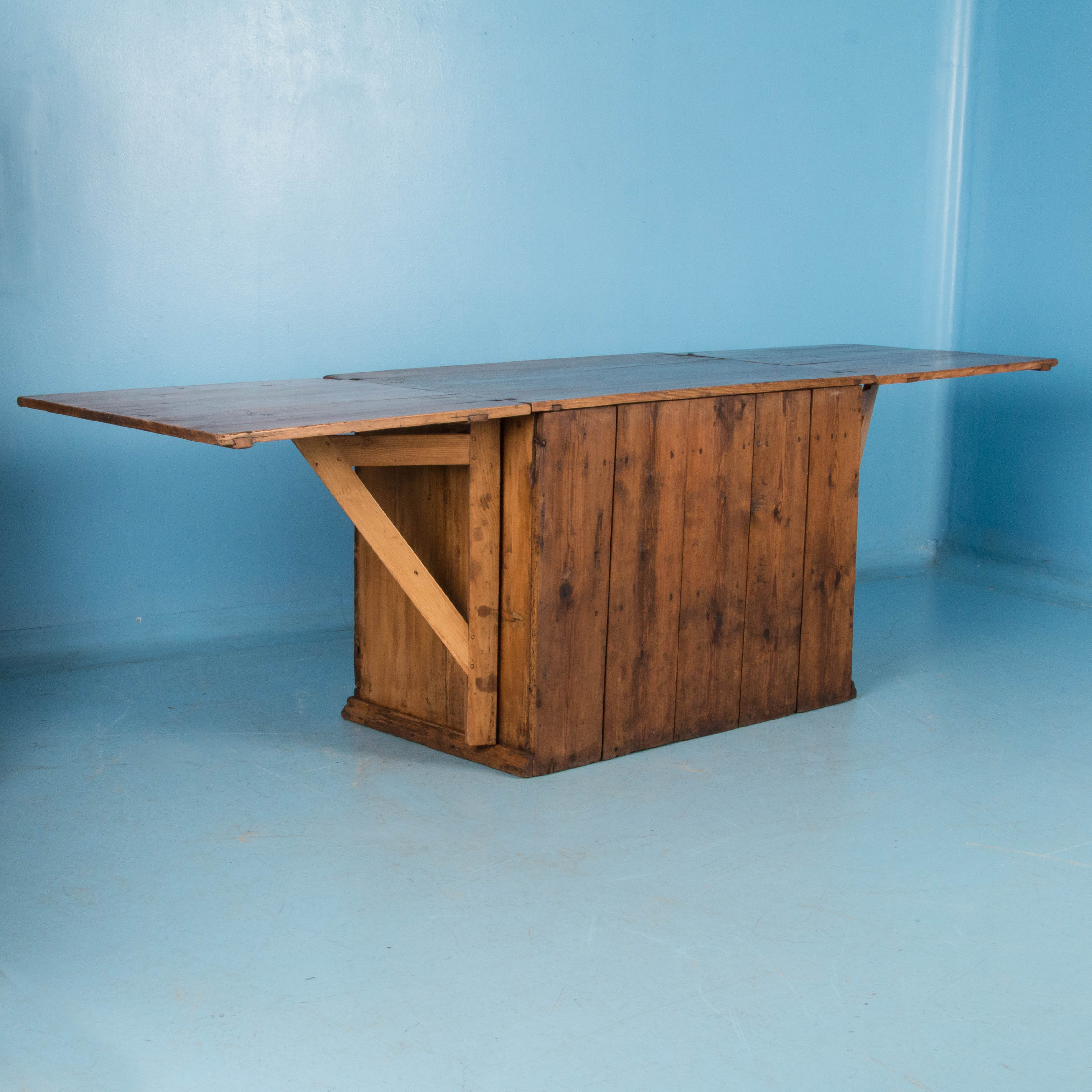 Unusual Antique Pine Cabinet with Drop Leaf Table at 1stdibs
