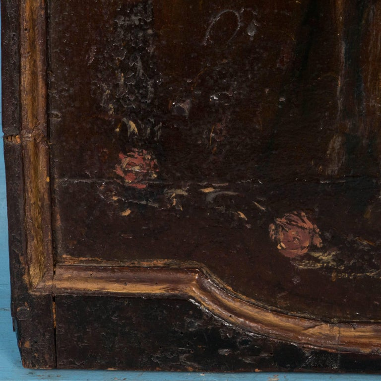 Original Antique Hand-Painted French Wood Panel For Sale 1