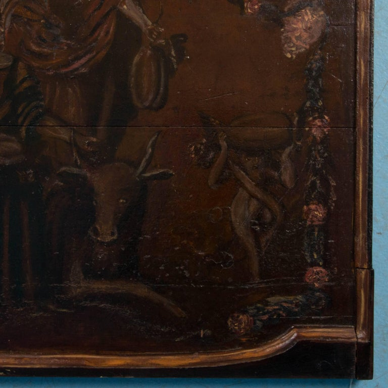 Original Antique Hand-Painted French Wood Panel For Sale 4