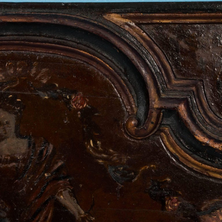 Original Antique Hand-Painted French Wood Panel For Sale 3