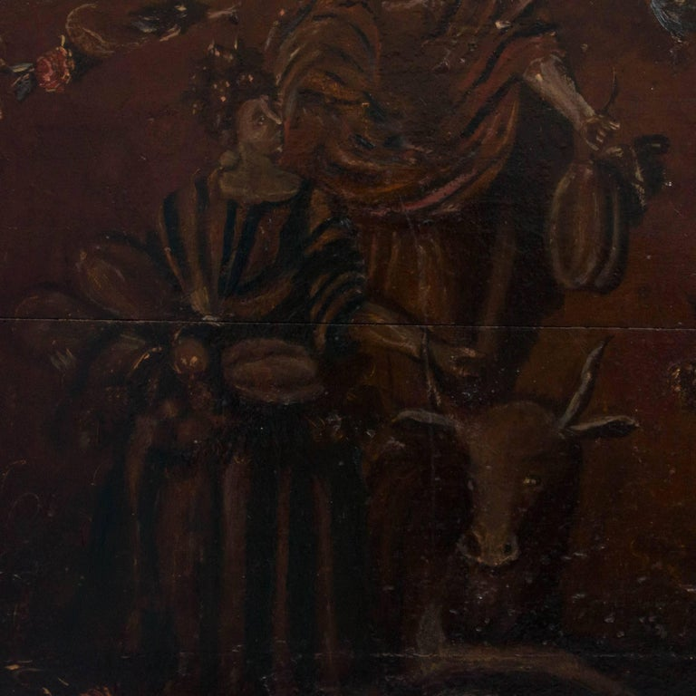 19th Century Original Antique Hand-Painted French Wood Panel For Sale