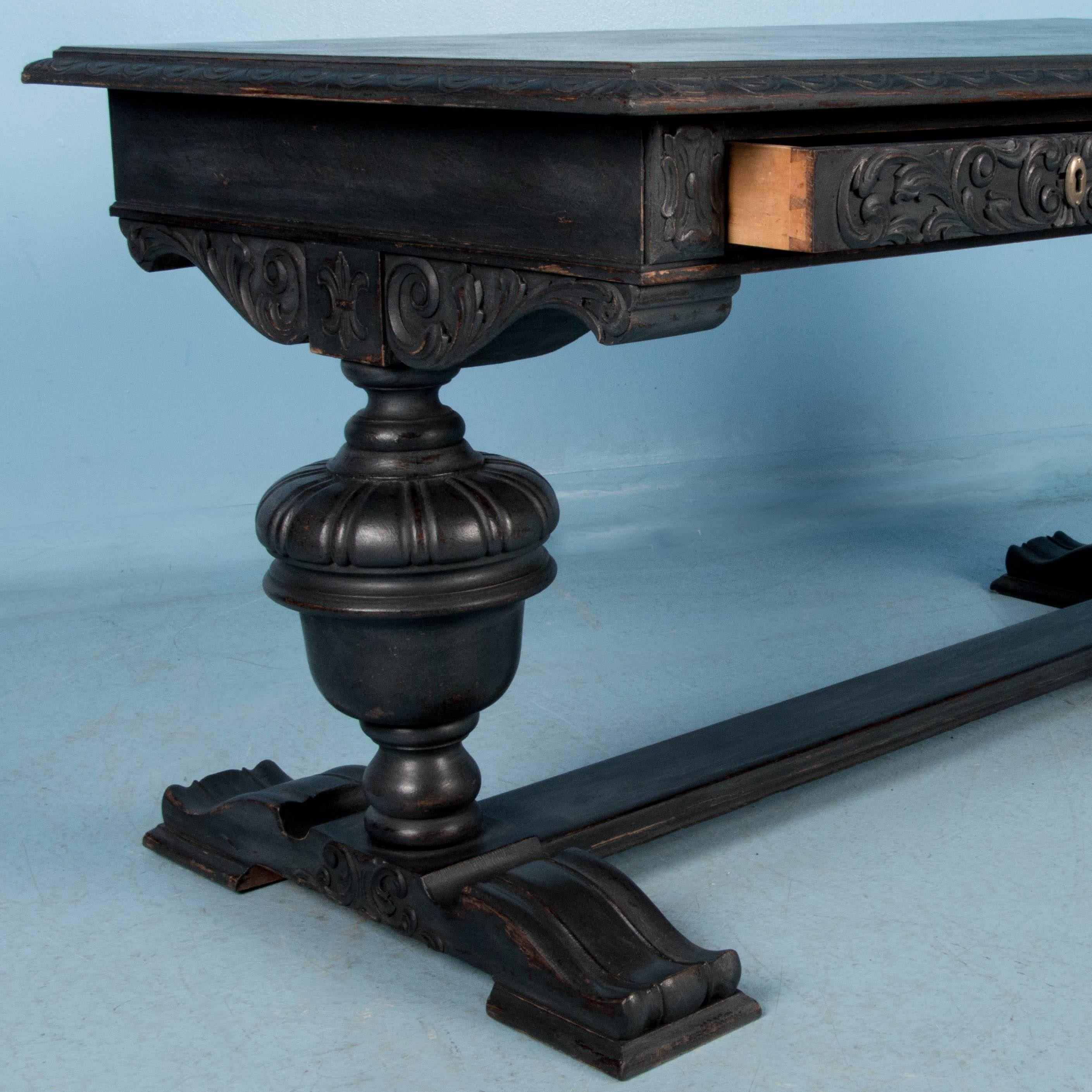 Antique Hand Carved Library Table Desk From Denmark Painted Black