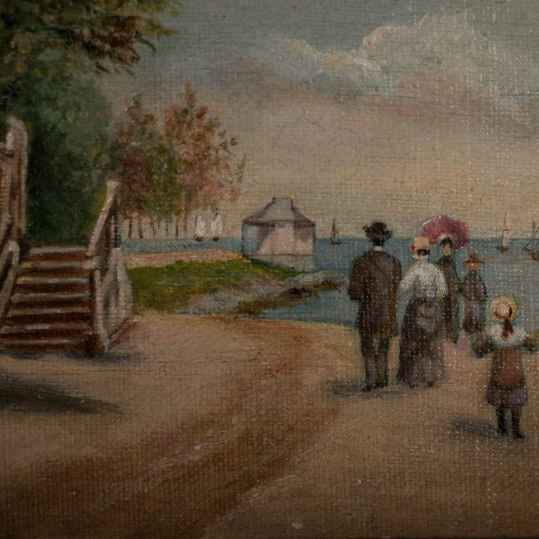 19th Century Small Antique Oil Painting On Canvas Family Walking Along Beach For Sale