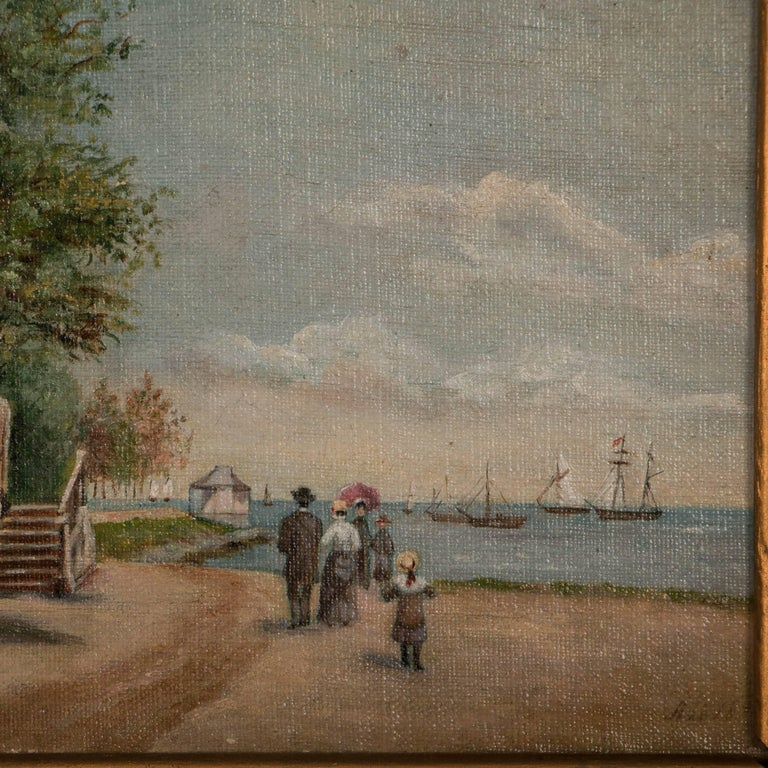Small Antique Oil Painting On Canvas Family Walking Along Beach In Good Condition For Sale