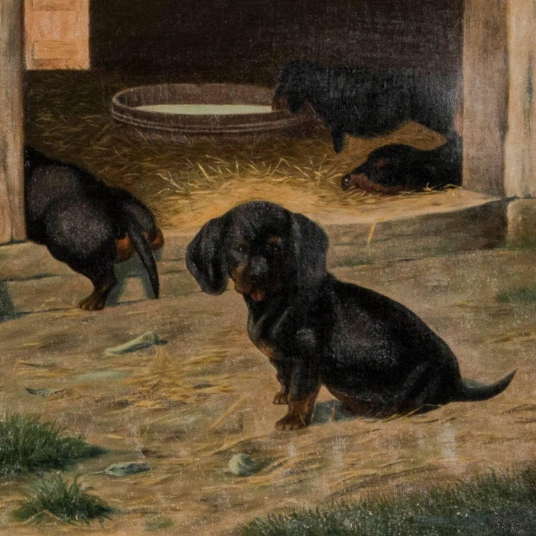 Antique Oil on Canvas Painting of Dachshund Puppies by Simon Simundson In Good Condition For Sale In Denver, CO