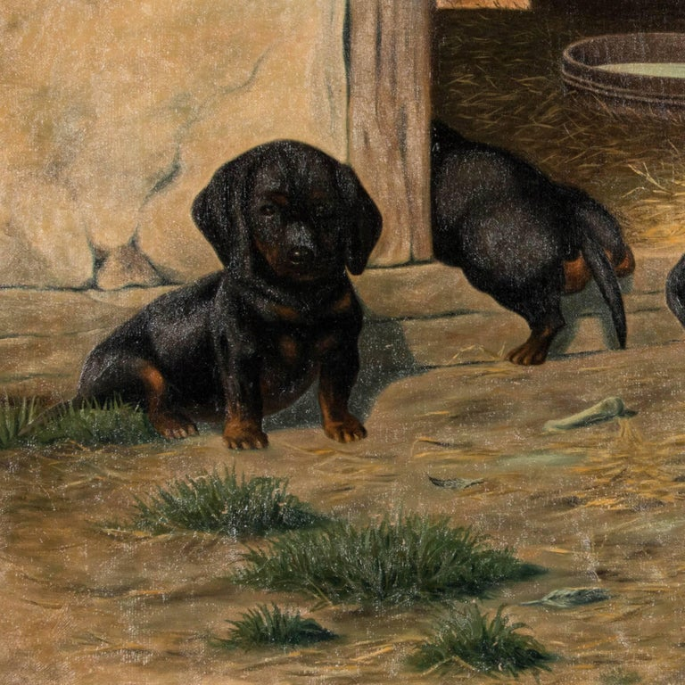 Danish Antique Oil on Canvas Painting of Dachshund Puppies by Simon Simundson For Sale