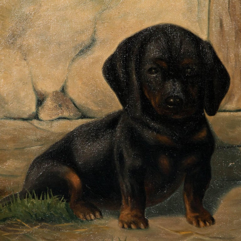 20th Century Antique Oil on Canvas Painting of Dachshund Puppies by Simon Simundson For Sale