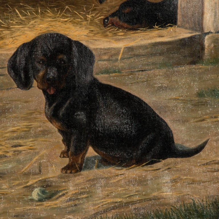 Antique Oil on Canvas Painting of Dachshund Puppies by Simon Simundson For Sale 1