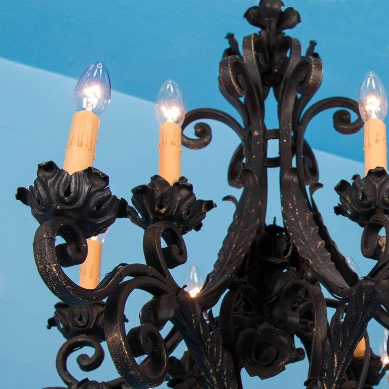 Blackened Antique French Twelve-Light Wrought Iron Chandelier For Sale