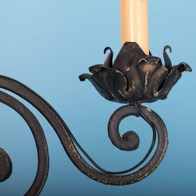 Metal Antique French Twelve-Light Wrought Iron Chandelier For Sale