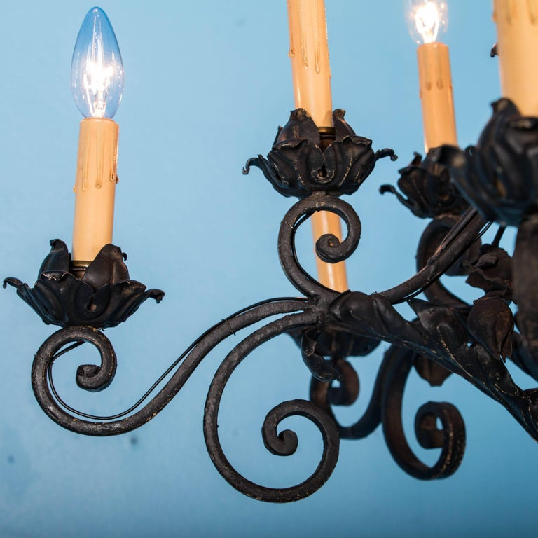 20th Century Antique French Twelve-Light Wrought Iron Chandelier For Sale