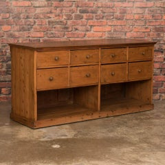 Antique Danish Pine Grocer's Counter with Multiple Drawers