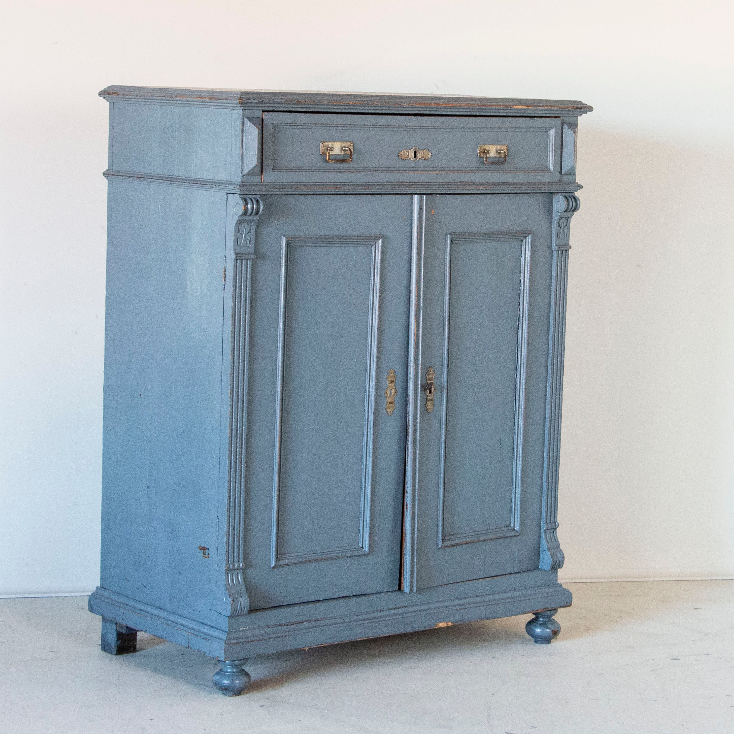 Picture of: Antique Tall Original Blue Painted Sideboard From Sweden At 1stdibs