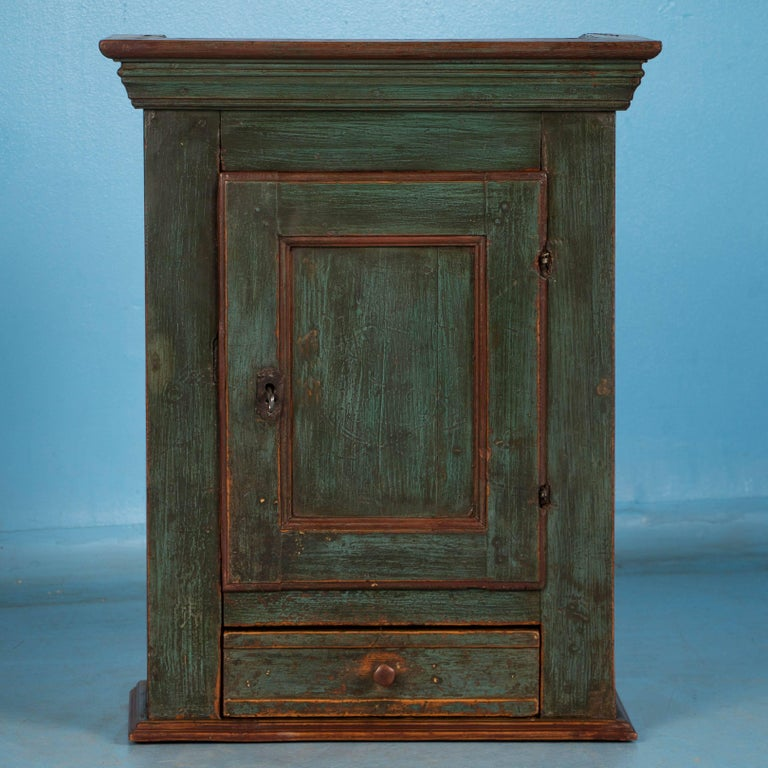 Antique Danish Green Painted Wall Cabinet For This Charming Hanging Cupboard From Denmark Is Exceptional Due To The Aged Patina Of Original