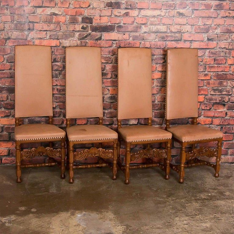 Danish Set of Eight Antique Leather Upholstered High Back Dining Chairs For  Sale - Set Of Eight Antique Leather Upholstered High Back Dining Chairs For