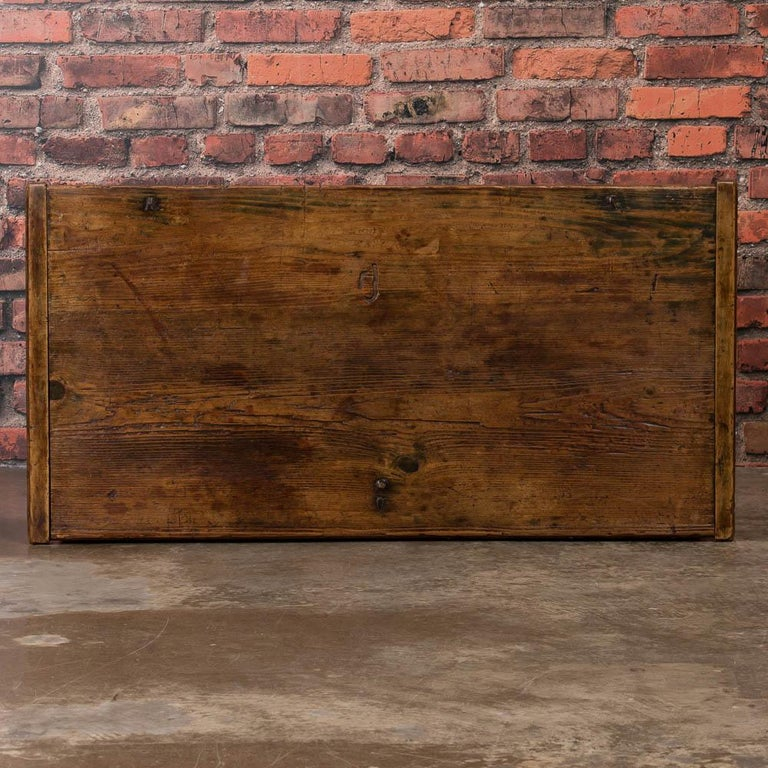 Antique Hungarian Trunk with Original Folk Art Paint For Sale 4