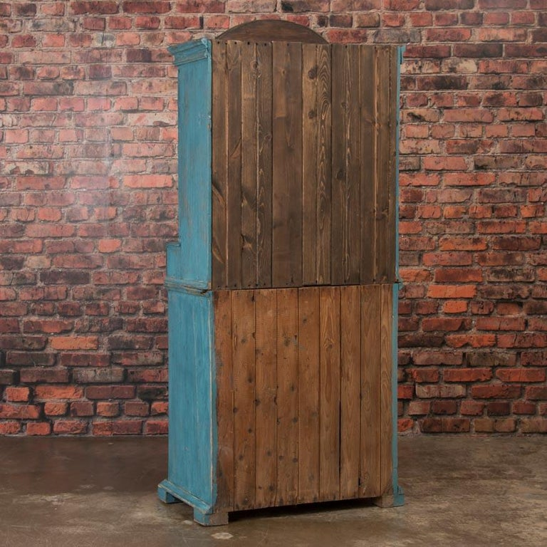 19th Century Antique Swedish Blue Cabinet/Cupboard with Original Paint For Sale