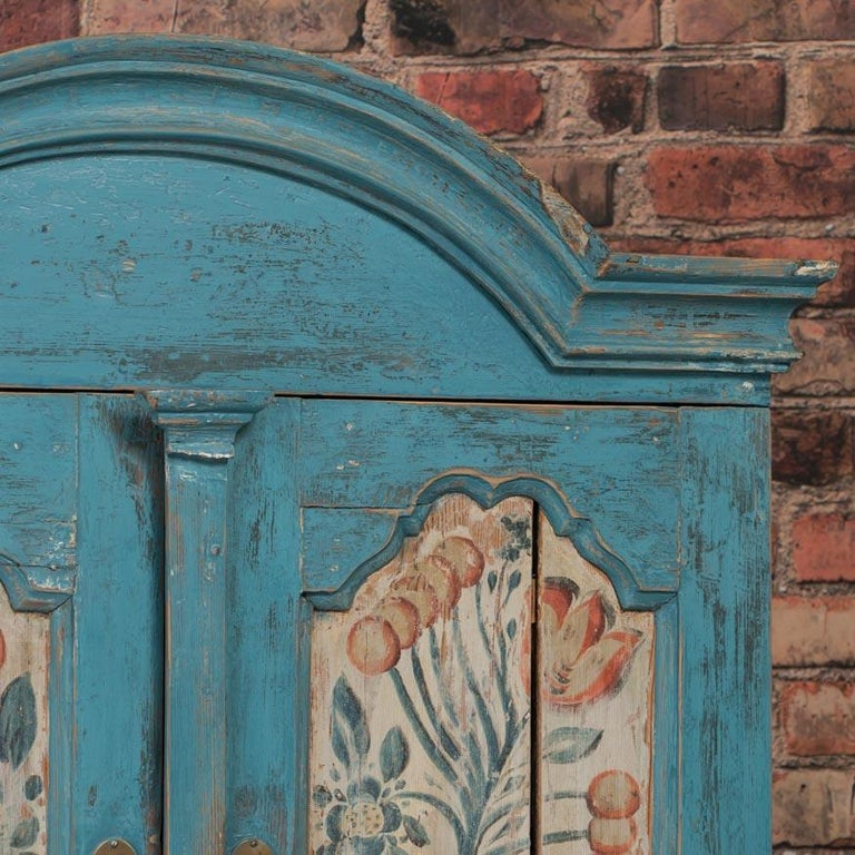 Antique Swedish Blue Cabinet/Cupboard with Original Paint For Sale 2