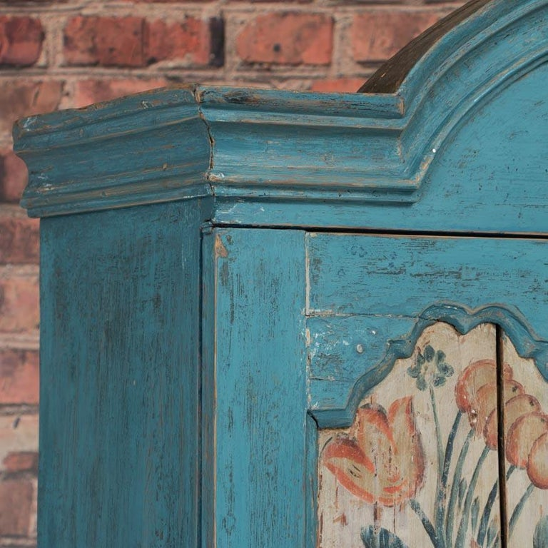 Antique Swedish Blue Cabinet/Cupboard with Original Paint For Sale 1