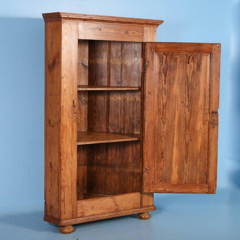 The beauty of this Swedish corner cupboard is in the aged look and rich  patina of. Large Antique Pine ... - Large Antique Pine Single Door Swedish Corner Cupboard Dated 1853