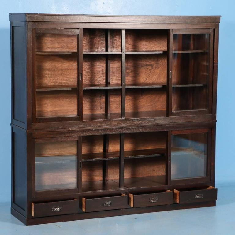 Antique Japanese Bookcase Or Cabinet With Sliding Glass