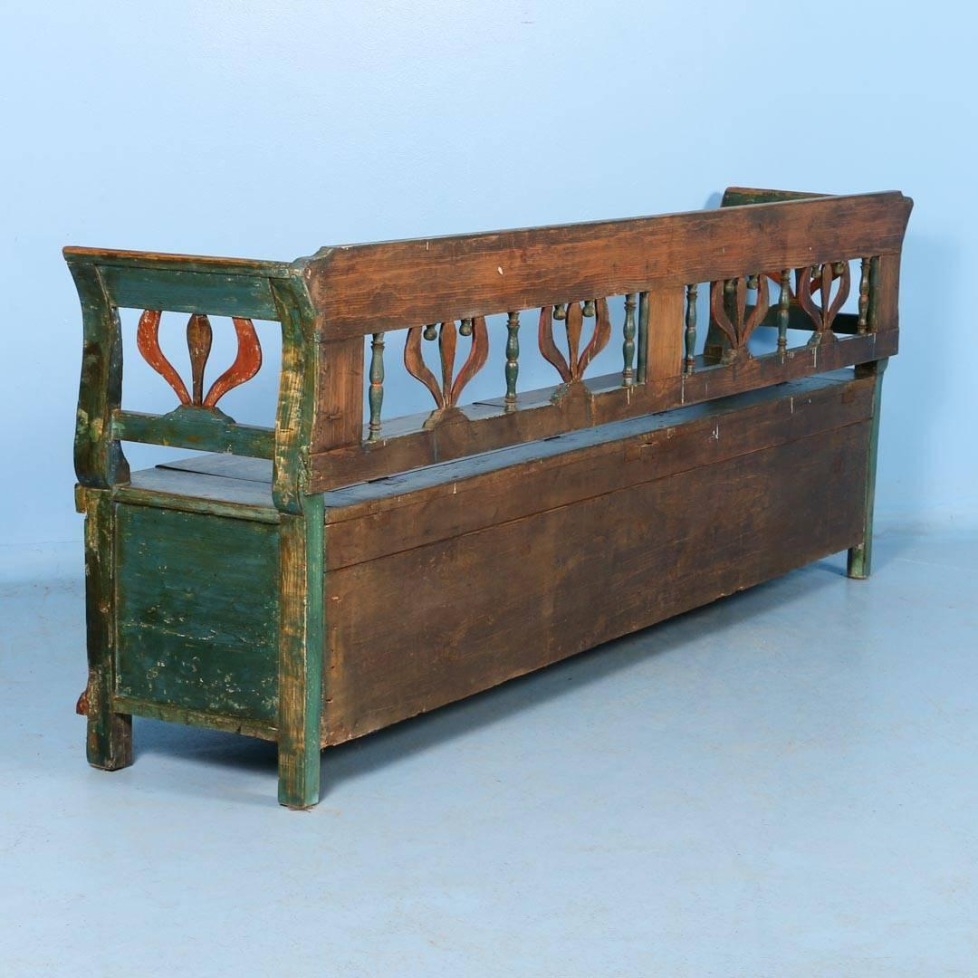 Antique Original Painted Long Green Storage Bench Circa 1860 At 1stdibs